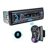 Bluetooth Autoradio, 1 DIN Universal, Car Radio Hands-Free Calls Remote Control Car Stereo Radio with USB/TF/FM/AUX/WMA/WAV/RCA/MP3 Media Player, AI Voice Control 2.1A Fast Charge