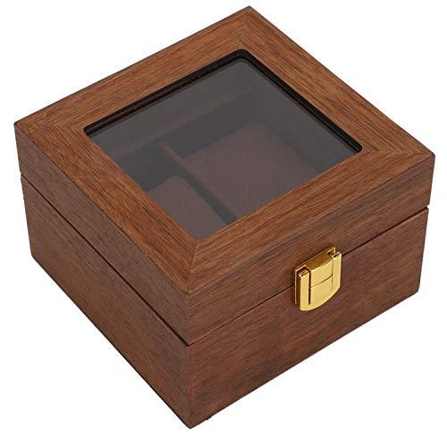 Caja de reloj con bisagra de metal de textura avanzada Vitrina de tacto natural para reloj Accesorios de hardware de franela especiales Cerradura de hebilla cuadrada de color nogal negro