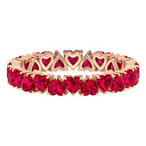 Forever Love Anello, 9,6 ct 3 mm a forma di cuore, anello pieno di vetro rubino, anello Full Eternity, anello con pietra portafortuna luglio, grazioso anello promessa, 14K Oro rosa, Size:EU 56