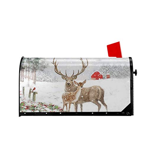 Foruidea Christmas Deer Mailbox Covers Magnetic Mailbox Wraps Post Letter Box Cover Standard Oversize 21 X 18 Mailwrap Garden Home Decor