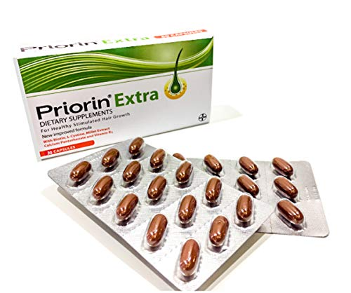 Priorin Extra Hair Growth Stimulator, Ideal For Men, Over +35 and Bovine Source (Halal), English label, 30 Capsules
