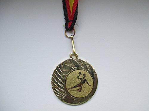 Medaillen - aus Stahl 40mm - mit einem Emblem - Handball - inkl. Medaillen Band - Farbe: Gold - Medaille - Emblem 25mm -