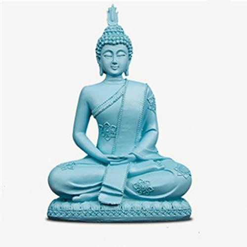 HUANQING Statuen Und Skulpturen Blaues Harz Buddha Statue Thailand Buddha Figuren Miniaturen Hindu Buddhismus Skulptur Vintage Wohnkultur,Blauer Buddha