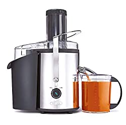 "BELLA High Power Juice Extractor, 2 Speed Motor, Juicer, Large 3"" Feed for Larger Fruits and Veggies, Dishwasher Safe Filter & Pulp Container for Easy Cleaning, Stainless Steel"