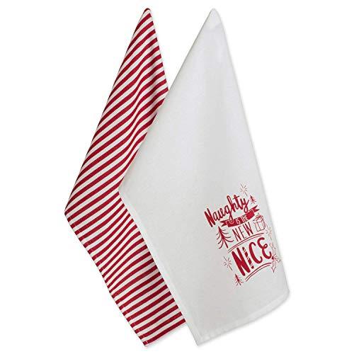 DII 100% Cotton 18x28 Christmas Holiday Dish Towels Set of 2-Naughty Nice