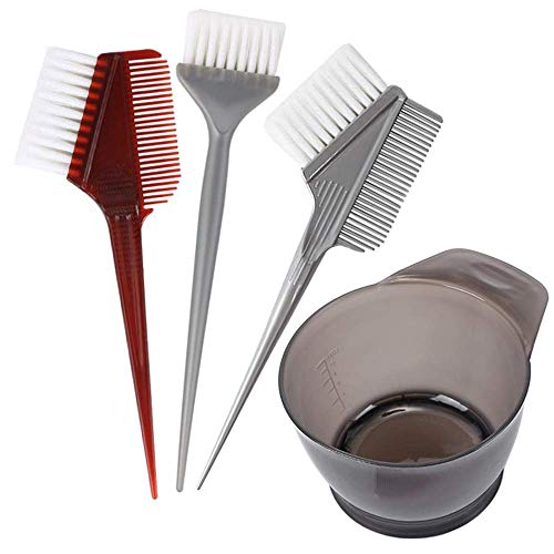 ICEBLUEOR 4 PCS Professional Salon Hair Coloring Dyeing Products Kit, Hair Dye Brush and Bowl Set - Dye Brush & Comb/Mixing Bowl/Tint Tool