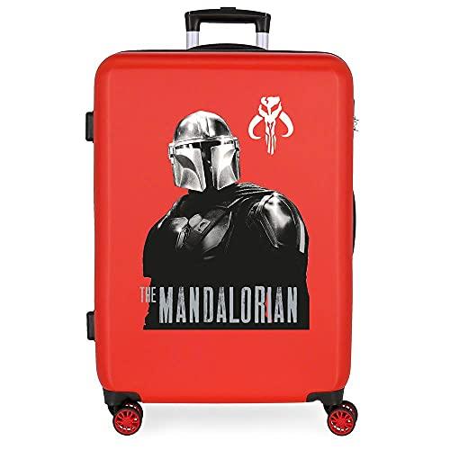 Star Wars The Mandalorian Maleta Mediana Roja 48x68x26 cms Rígida ABS Cierre de combinación Lateral 70L 3 kgs 4 Ruedas Dobles 0