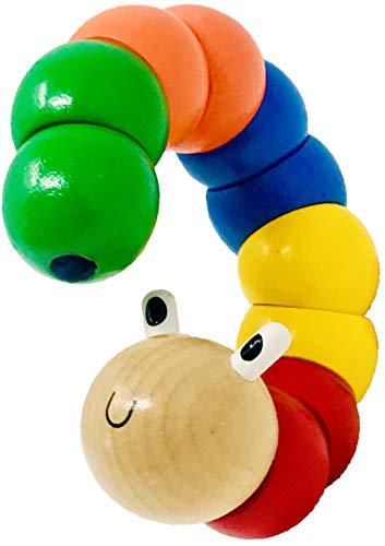 Bunter I gelenkiger Holz Biegewurm mit gratis Minis Baby Überraschung I Kleinkind Baby Lernspielzeug I Twist Raupe I Motorik Spielzeug I Baby Holzspielzeug