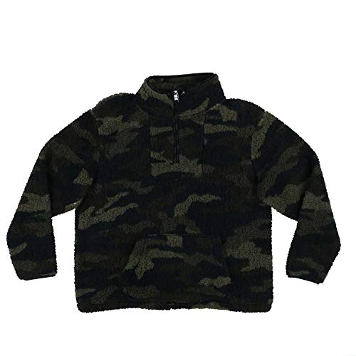 Victoria's Secret Pink Sweatshirt Sherpa Quarter Zip Pullover (XL, Camo)