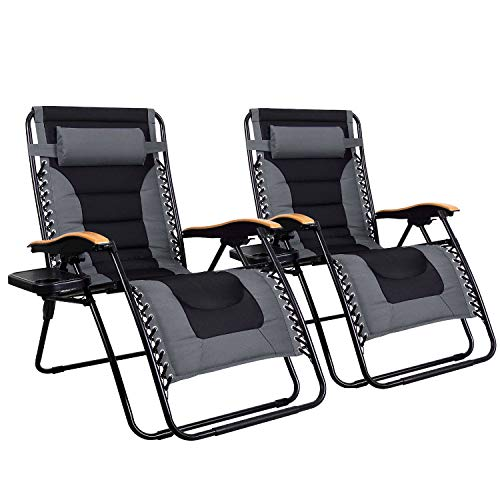 MFSTUDIO Oversized Zero Gravity Chair XL Patio Recliners Padded Folding Chair with Cup Holder, Extra Wide Chaise Lounge for Poolside Outdoor Yard Beach, Set of 2 - Gray