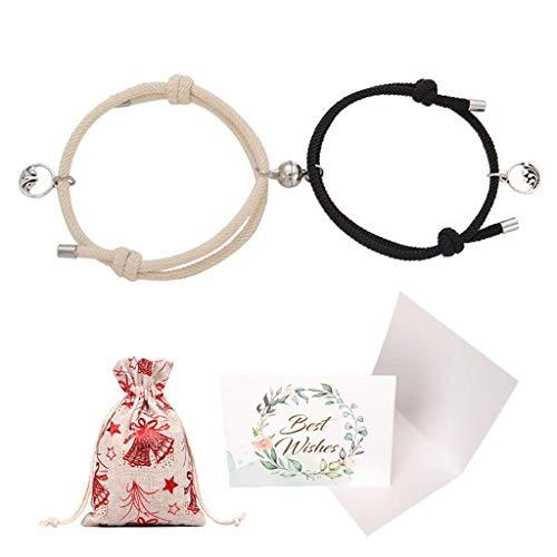 SNOWZAN Paar Magnet Armband Gegenseitige Anziehung Seil Geflochtene Charm Anhänger Armband Geschenk Geflochtene schmuck Liebhaber Magnetisches Armband Verstellbare Handgewebtes Paararmband für Paare