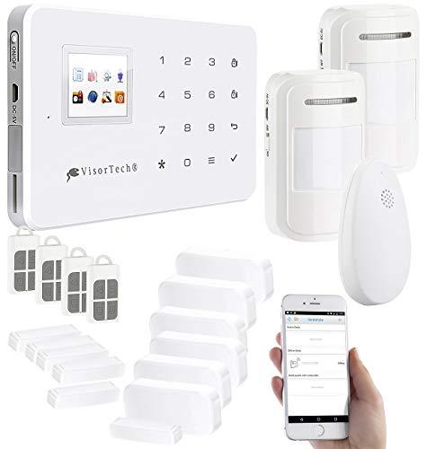 VisorTech GSM-Alarmanlage mit Funk-/Handy-Anbindung, 14-teiliges Starter-Set