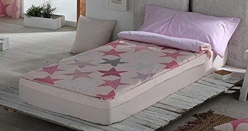 Mercatohouse Housse de couette pour enfant motifs étoiles, avec fermeture Éclair Cama - 90 rose