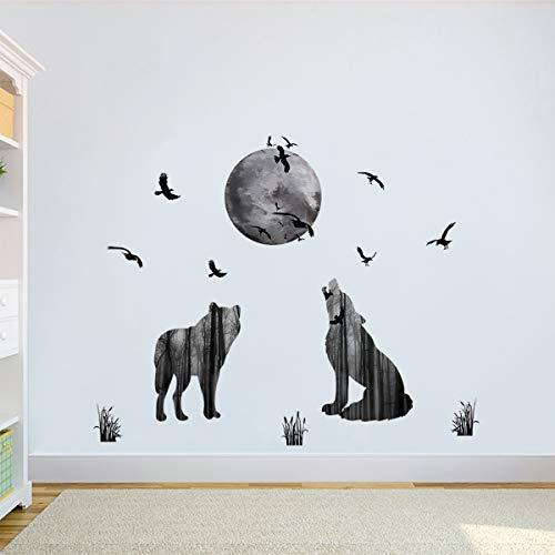 decalmile Wandtattoo Wolf Mond Vögel Wandsticker Entfernbarer Wandaufkleber Wanddekoration für Wohnzimmer Schlafzimmer