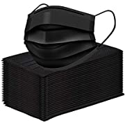 50 Pack 3 Ply Black Disposable Face Masks with Elastic Ear Loop,Breathability Comfort