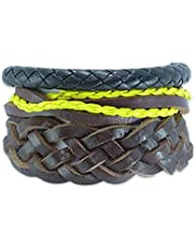 Set of 3 leather bracelets in different style for men