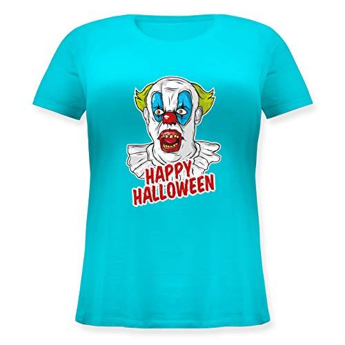 Shirtracer Halloween - Happy Halloween - Clown - S (44) - Hellblau JHK601 - Lockeres Damen-Shirt in großen Größen mit Rundhalsausschnitt