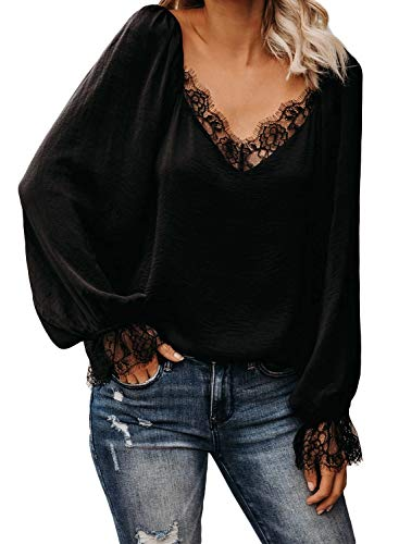 Damen Langarm Oberteil mit V Ausschnitt und Spitze - Elegante und modische Bluse in Farben ,Schwarz S-EU(34-36)