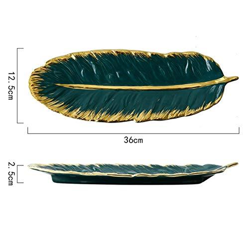 Gouen 1Pcs Nordic Stijl Groene Banaan Bladvorm Keramische Trays Goud Porselein Dessert Sieraden Plaat Schotel Servies voor Tafelblad decor, Groen-L