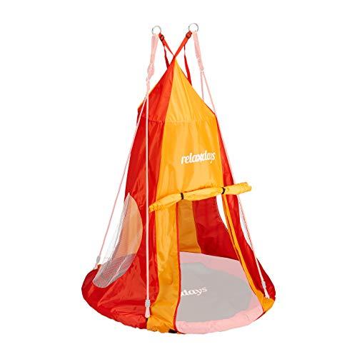 Relaxdays Zelt für Nestschaukel, Bezug für Schaukelsitz bis 90 cm, Rundschaukel Zubehör, Garten Schaukelnest, rot-orange