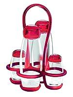 guzzini menage set olio aceto sale e pepe gocce, rosso chiaro, 17 x 15 x h22.5 cm