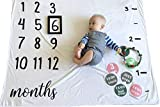 Baby Monthly Milestone Photo Blanket Throw for Baby Boy & Baby Girl Newborn Infant Growth Chart for New Parents,, Baby Welcome Box with Photography Backdrop Props - Frame,Wreath,Headband and Stickers
