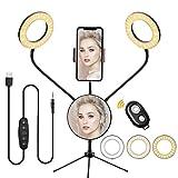 Morpilot Ringlicht 5 Zoll Ringleuchte 5 Farbtemperatur 6 Helligkeitsstufen Dimmbares Desktop Make up Selfie Ring Light mit Fernbedienung, Stativ, Telefonhalter für Live-Stream YouTube TikTok-Video