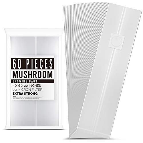LOSTRONAUT 60-Pack Mushroom Grow Bags   Extra Strong Large Size Breathable Autoclavable Spawn CO2 Bag for Growing Mushrooms   Tear-Proof 6'' x 5'' x 20''.2 Micron Filter, 4.8mil