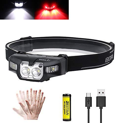 BESTSUN Stirnlampe Rotlicht LED Wiederaufladbar, 1000 Lumens rot mit weißem Licht Stirnlampen 2 x XPG LED Bewegungssensor Scheinwerfer Außenscheinwerfer für Laufen, Angeln, Camping