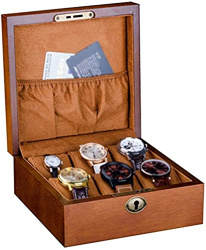 PLMOKN Caja de Reloj - 6 Slots Joyas de exhibición de la Caja de Almacenamiento Pulsera Bandeja de Madera 6 Almohadas de Terciopelo removible y Bloqueo de Metal con Cerradura