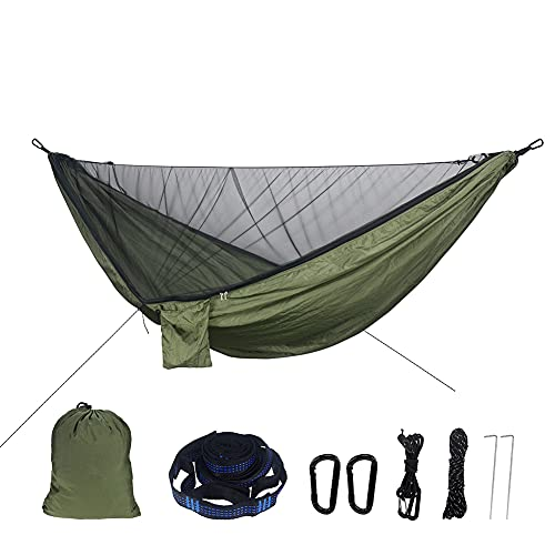 Zokrintz Hamaca de camping con mosquitero, ligera y doble hamaca portátil para interiores, exteriores, senderismo, camping, mochilero, viajes, patio trasero, playa