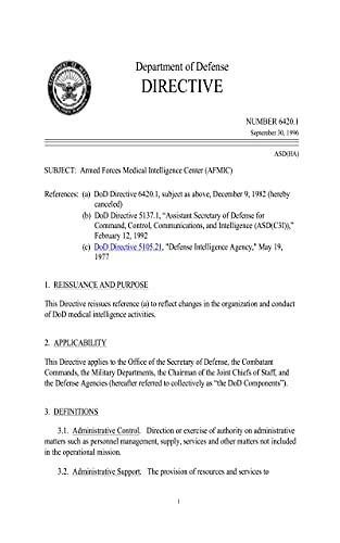 DoD Directive 6420.1: Armed Forces Medical Intelligence Center (AFMIC) (English Edition)