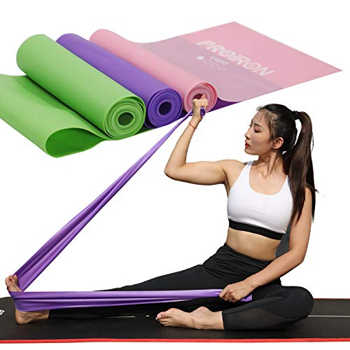 PROIRON Bande Elastiche Fitness con 4 Livelli di Resistenza per Uomo e Donna, Fasce Elastiche perfette per Pilates, Yoga, Riabilitazione, Stretching, Allenamento (Rosa + Viola + Verde - 2m)