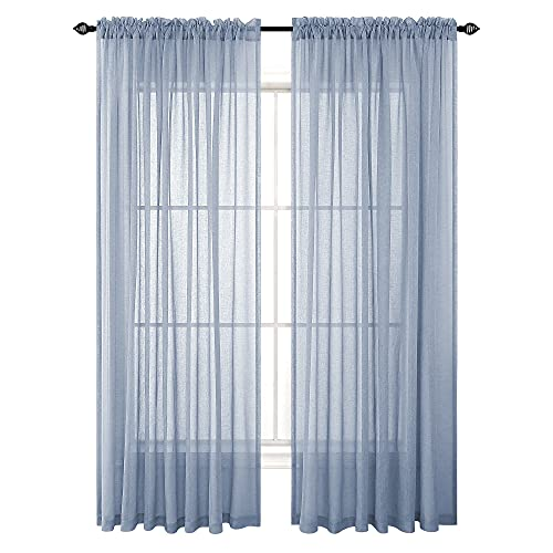 Dusty Blue Semi Sheer Curtains 84 Inch Length for Living Room Set 2 Panels Rod Pocket Window Coverings Faux Linen Drapes Textured Dusty Blue Curtains for Bedroom Decor 52x84 Long Grey Blue