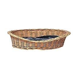 Bunty ovale Panier en osier pour chien pour animal Canapé Chiot Chat Bois naturel Fait à la main Gris en rotin