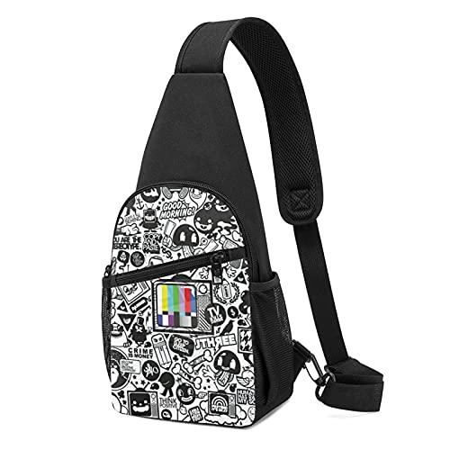 Bolsa de pecho ajustable ligero senderismo Daypack Sling Mochila unisex bolsa de hombro, Set de televisión abstracto de 8 dibujos animados, grafiti, blanco y negro, Talla única