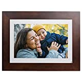 """Brookstone PhotoShare 10"""" Smart Digital Picture Frame, Send Pics from Phone to Frames, WiFi, 8 GB, Holds 5,000+ Pics, HD Touchscreen, Premium Espresso Wood, Easy 1-min Setup"""