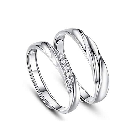 HND ZNXHNDSH Anillos de Pareja, Hombres y Mujeres, los Anillos de Matrimonio Propuesta Regalos de cumpleaños for Hombres y Mujeres, Regalos del día de Navidad for Novias, 925 (Color : Silver)