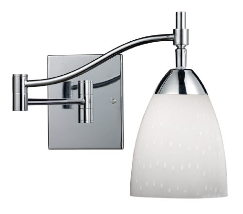 Elk 10151/1PC-WH Celina 1-Light Swing arm Sconce in Polished Chrome with Simple Whit Glass