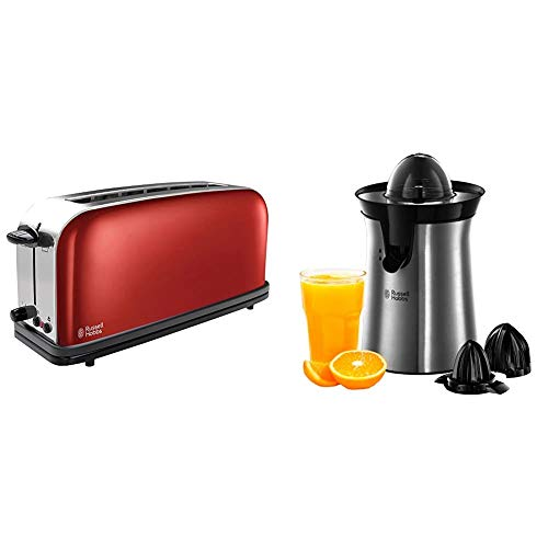 Russell hobbs colours plus 21391-56 - tostadora & classics 22760-56 - exprimidor de zumo eléctrico, 2 accesorios, 60 w, acero inoxidable, gris