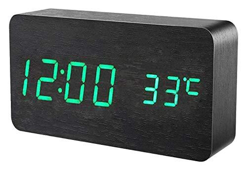 Electrónica digital del reloj del escritorio moderno de madera del reloj de alarma de madera Reloj LED de visualización de fecha y hora Temperatura Humedad Control de Voz 3 Alarmas 3 Brillo Ministerio