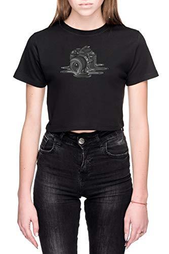 Camera Smelten Dames Crop T-Shirt Zwart Women's Crop T-Shirt Black