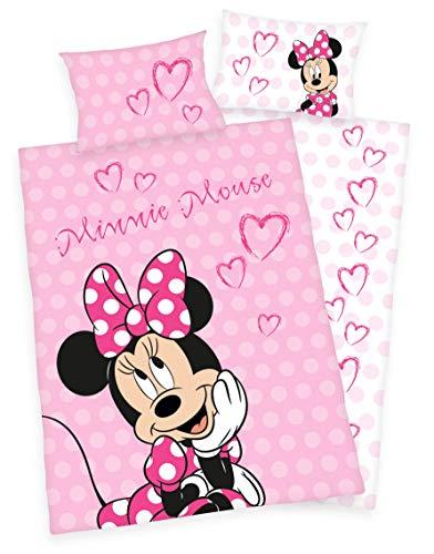 Disneys Minnie Mouse Bettwäsche 40x60 + 100x135cm 100% Baumwolle mit Reißverschluss (100 x 135 cm)