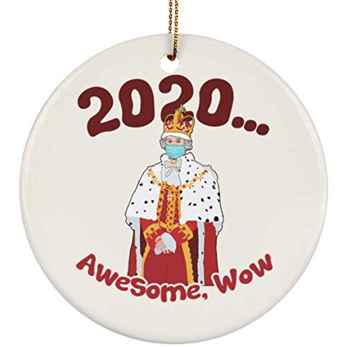 2020 Awesome Wow Funny Hamilton King George Christmas Circle Ornament Keepsake, One Size, Circle Ornament/White