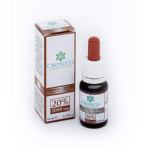 CBDNESS CB2000 Premium CBD Oil 20%. Confezione da 10 ml con contagocce. 2000mg di CBD in olio di Canapa Bio. CBDNESS Natural Wellness