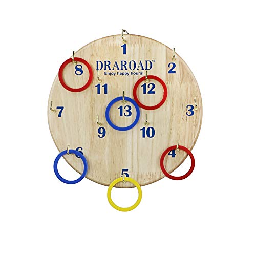 DRAROAD Ring Toss Games Outdoor Indoor Hook Board Ring Toss for Adults and Kids Fun Family Game for Backyard Party or Office Great Gift for All Ages