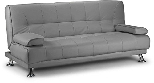 D & G Sofas VENICE CLICK CLACK FAUX LEATHER SOFA BED - BLACK, BROWN AND RED (Grey)