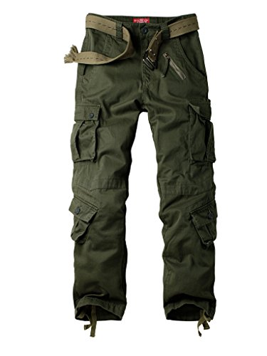 AKARMY Men's Cotton Casual Military Army Camo Combat Work Cargo Pants with 8 Pockets Military Green 34