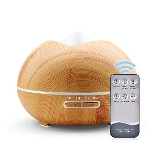 Aroma Diffuser 400ml,Ultraschall Luftbefeuchter Diffusor BPA-Free Aromatherapie Düfte Humidifier für ätherische öle Raumbefeuchter Duftlampen Feuchtigkeitsabgabe Leichte Holzmaserung Fernbedienung