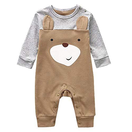 TIANRUN Baby Infant Boy Girl Short Sleeve Cartoon Print Jumpsuit Cute Bear Romper Pajamas Clothes Summer Outfits